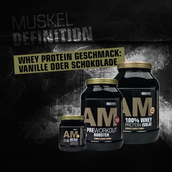 HHC Muskeldefinition Set (Pre Workout Booster + BCAA + Whey Isolat Vanille oder Schokolade)