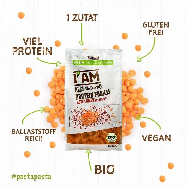 I AM® BIO Protein Fusilli Rote Linsen im 6er Pack