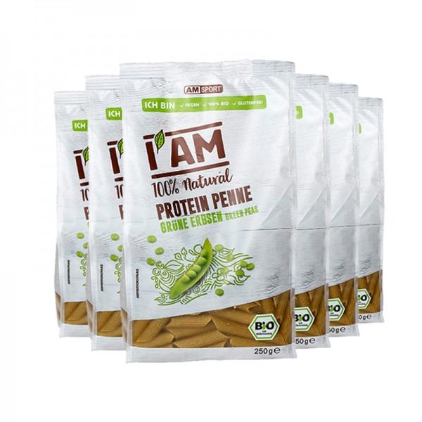 I AM BIO Protein Penne Grüne Erbsen im 6er-Pack